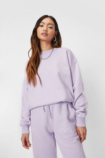 Lilac Petite Active Society Embroidered Sweatshirt