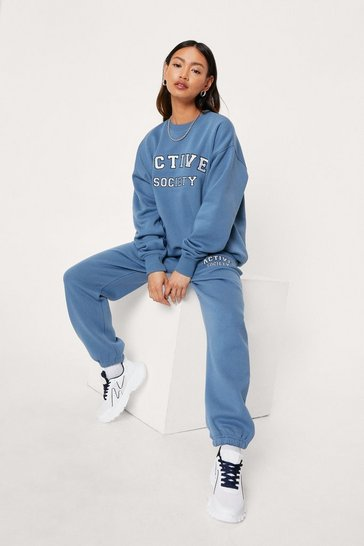 Blue Petite Active Society Crew Neck Sweatshirt