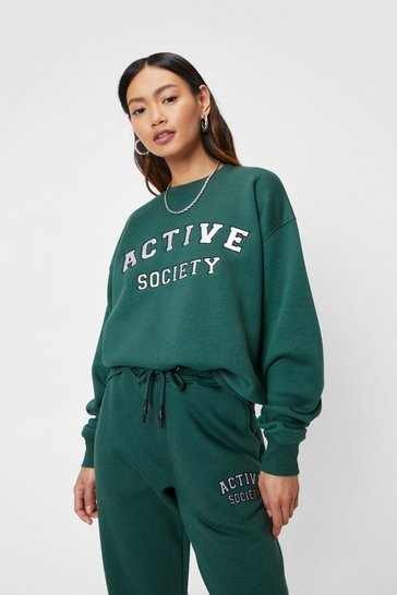 Green Petite Active Society Crew Neck Sweatshirt