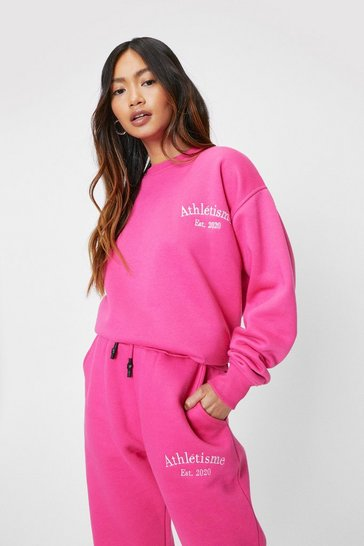 Hot pink Petite Athletisme Embroidered Sweatshirt