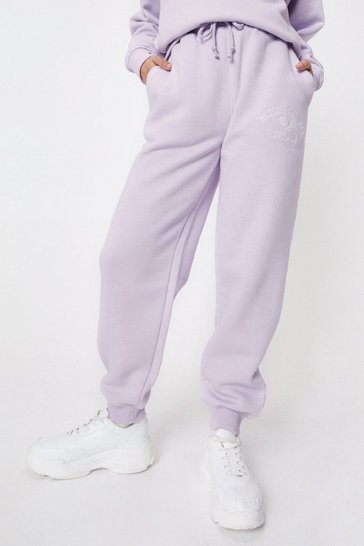 Lilac Petite Active Society Embroidered Joggers