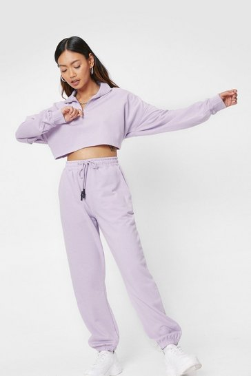 Lilac Petite Zip Sweatshirt and Sweatpants Set