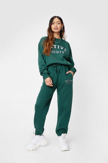 Green Petite Active Society High Waisted Joggers