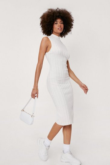Cream Ribbed Knitted Racer Midi Dress