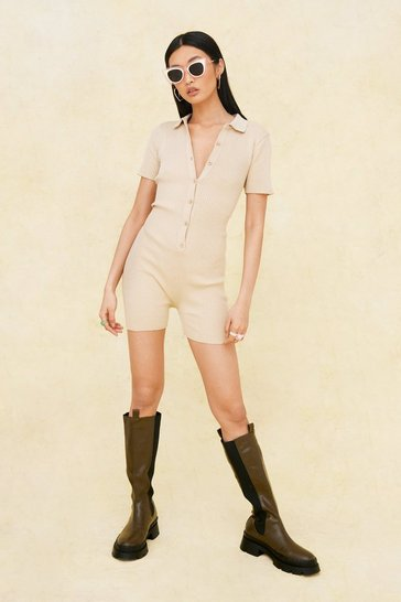 Light stone Ribbed Knit Button Down Collar Detail Romper