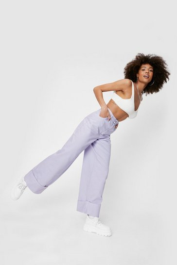 Lilac Slouchy Turn Up Hem Wide Leg Jeans