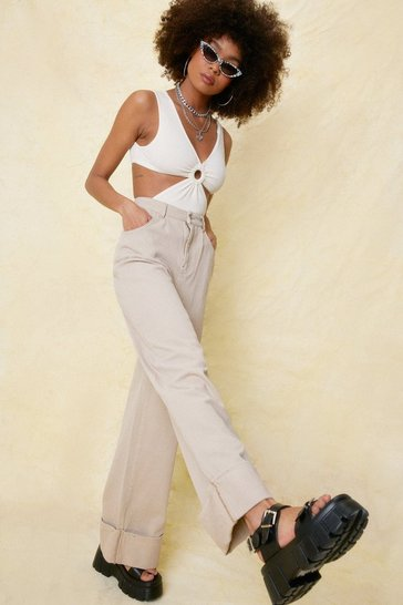 Sand Slouchy Turn Up Hem Wide Leg Jeans