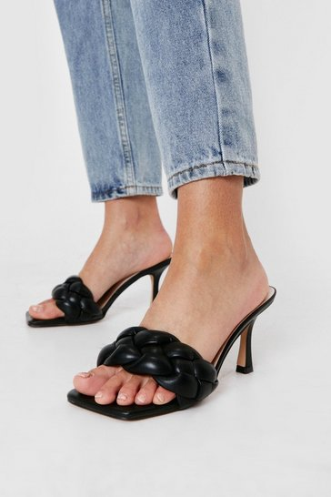 Black Faux Leather Woven Slip On Stiletto Mules