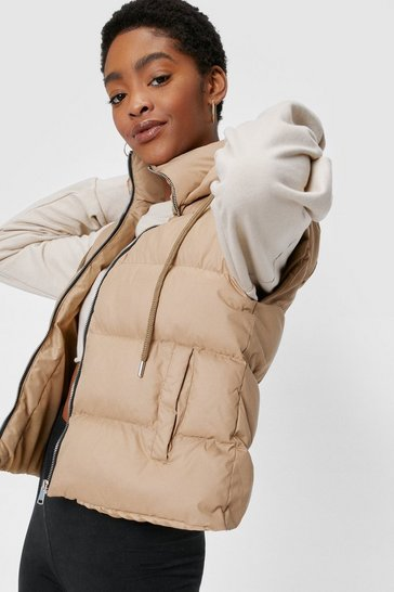 Camel Drawstring Hooded Padded Zip Front Gilet