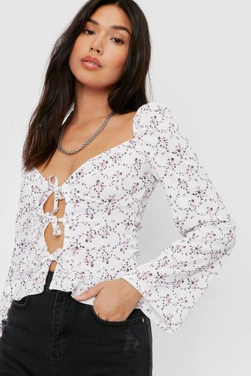 Cream Floral Print Open Front Bow Tie Blouse