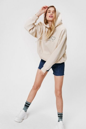 Sand Peace Positivity Love Oversized Graphic Hoodie