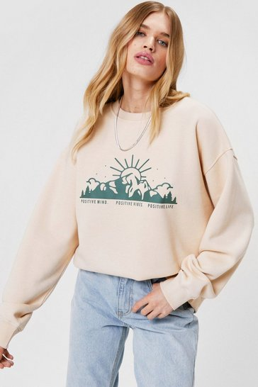 Sand Positive Graphic Oversized Sweatshirt