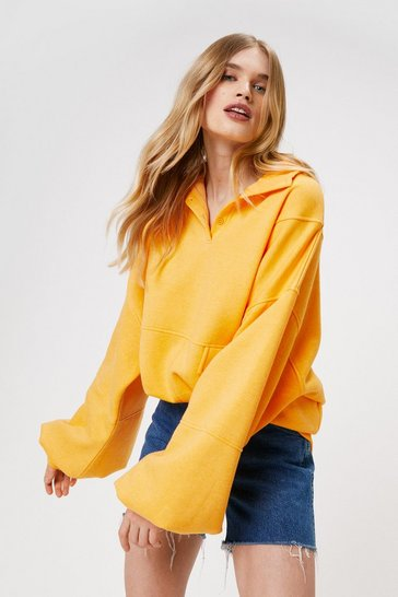 Orange Oversized Half Button Sweatshirt