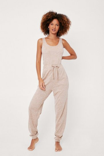 Oatmeal Brushed Scoop Neck Drawstring Lounge Jumpsuit