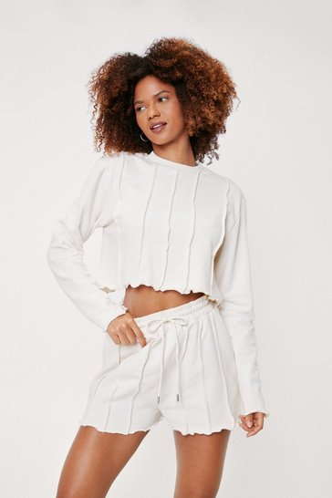 Stone Seam Detail Sweater and Shorts Lounge Set