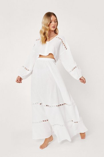 Cream Crinkle Lace Maxi Beach Cover Up Skirt
