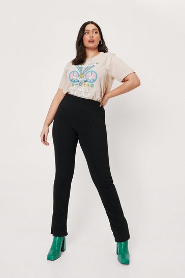 Black Plus Size Ribbed Split Hem Pants