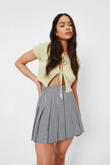 Black Petite Mono Check Pleated Mini Skirt