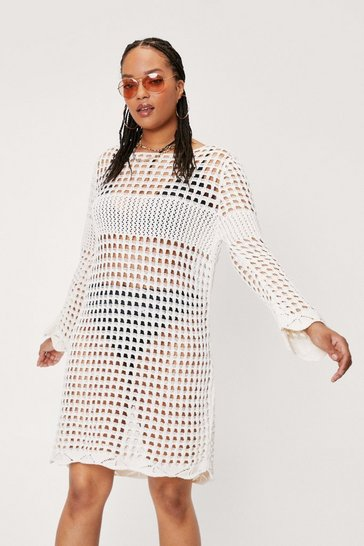 Ecru Plus Size Crochet Long Sleeve Mini Dress