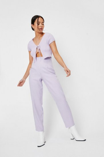 Petite Gingham Print Tapered Pants, Lilac