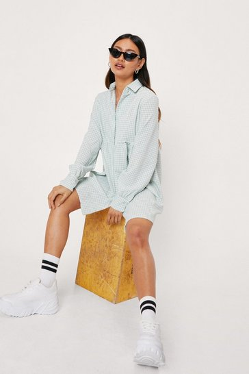 Sage Petite Check Shirt Mini Dress
