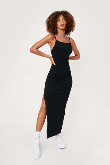 Black Ribbed Strappy Racerback Split Hem Maxi Dress