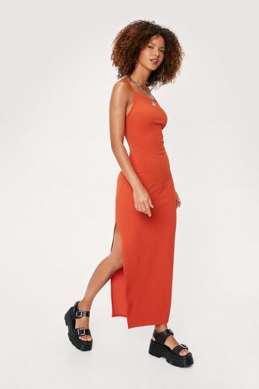 Rust Ribbed Strappy Racerback Split Hem Maxi Dress