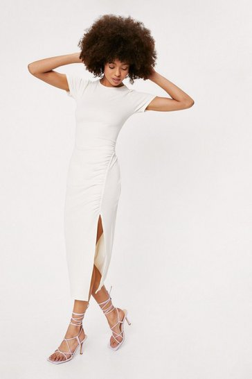 Ecru Ribbed Short Sleeve Ruched Midi Dress