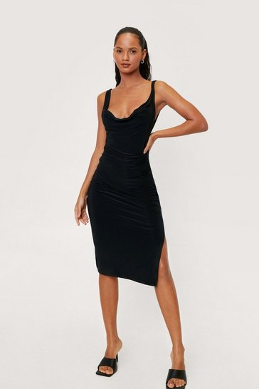Black Cowl Neck Double Slinky Side Split Midi Dress