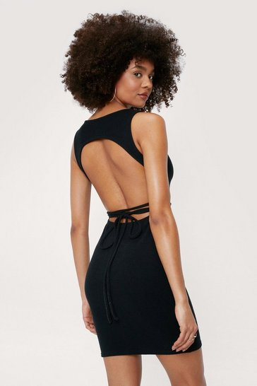 Black Ribbed Open Back Tie Mini Dress