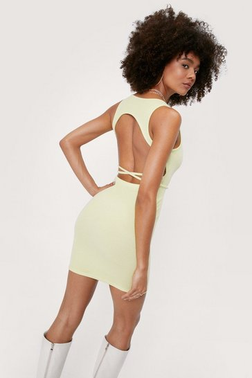 Lime Ribbed Open Back Tie Mini Dress