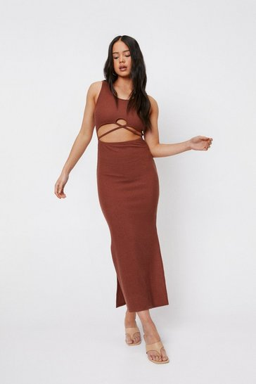 Chocolate Petite Ribbed Cut Out Split Hem Maxi Dress