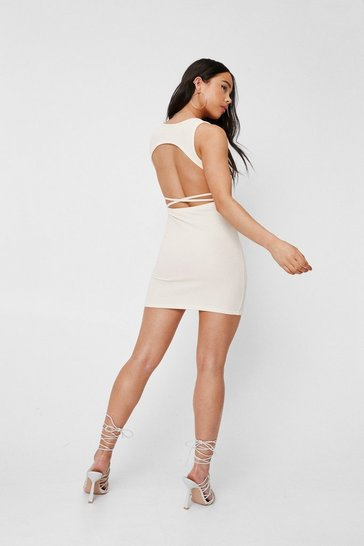 Cream Petite Ribbed Open Back Mini Dress