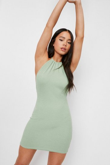 Sage Petite Ribbed Halter Neck Mini Dress