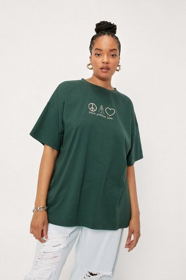 Green Plus Size Positivity Embroidered T-Shirt