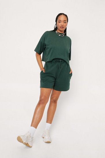 Green Plus Size Cropped Tee and Shorts Set