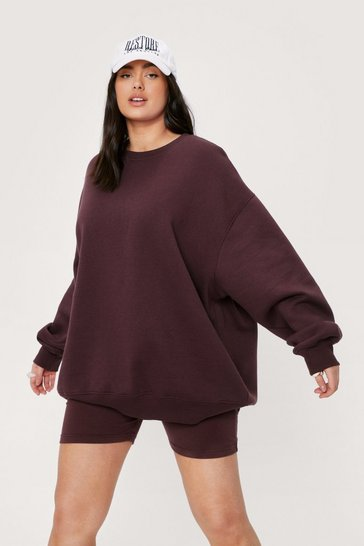 Chocolate Plus Size Sweatshirt and Biker Shorts Set
