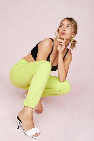 Lime Adjustable Drawstring High Waisted Relaxed Joggers