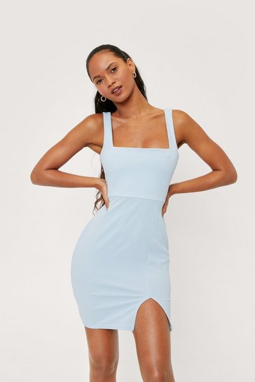 Cornflower blue Square Neck Split Front Hem Mini Dress