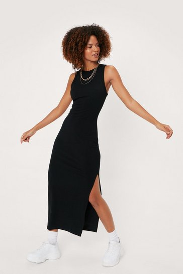 Black Ribbed Racerback Split Hem Midi Dress