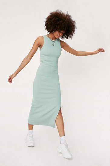 Sage Ribbed Racerback Split Hem Midi Dress