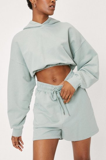 Sage Gathered Cropped Hoodie and Jogger Short Set