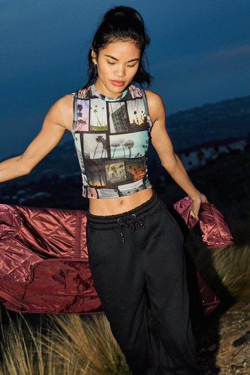 Black Jersey 3 Pc Hoodie and High Waisted Sweatpants Set
