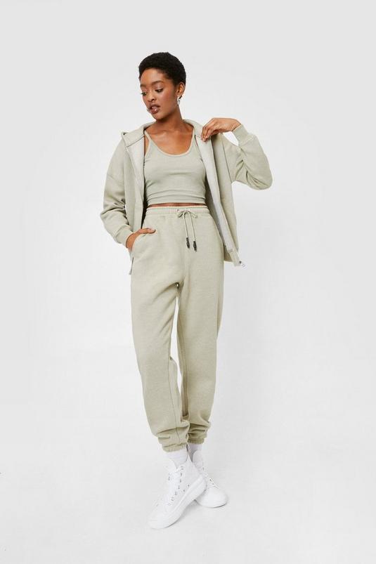 Jersey 3 Pc Hoodie and High Waisted Sweatpants Set   NastyGal