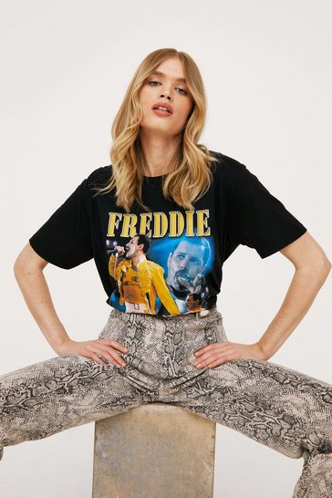 Black Freddie Mercury Graphic Band T-Shirt