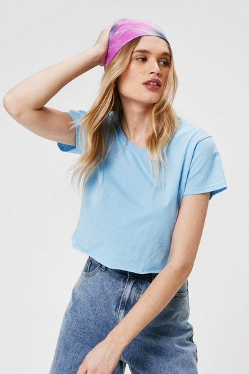 Pale blue Cropped Girlfriend T Shirt