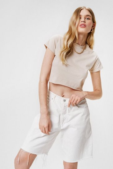 Sand Cropped Girlfriend T Shirt