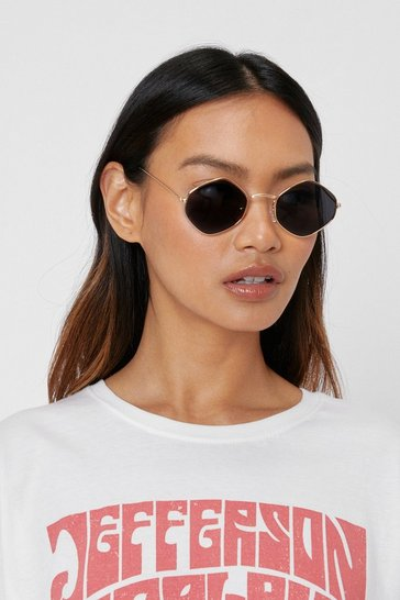 Black Tinted Geometric Aviator Sunglasses