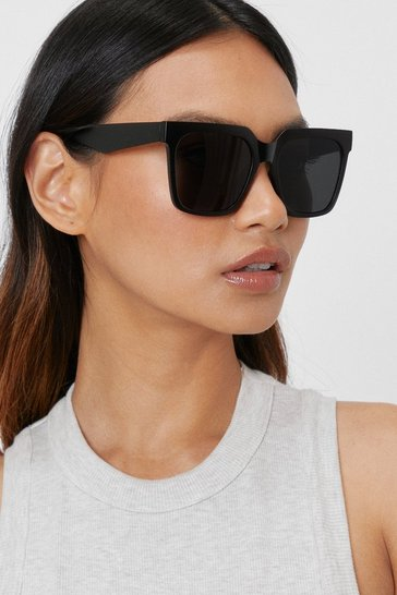 Black Oversized Square Tinted Sunglasses