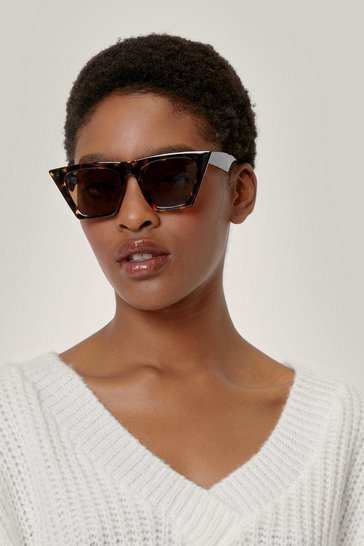 Brown Tortoiseshell Flat Top Cat Eye Sunglasses